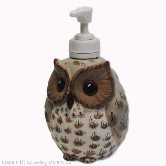 Small Ceramic Owl Soap Dispenser For Soft Soap or Lotions Wide Eye Owl Feather Detail Hand Painted Original Design