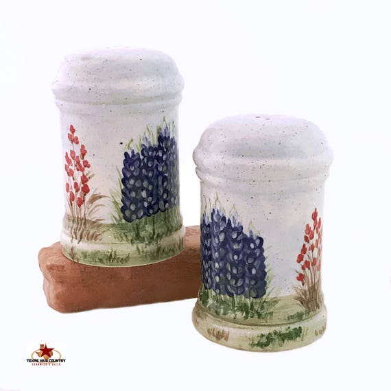 Traditional Tall Cylinder Salt and Pepper Shakers with Texas Bluebonnets for Kitchen or Dining Table Decor Made in the Texas Hill Country
