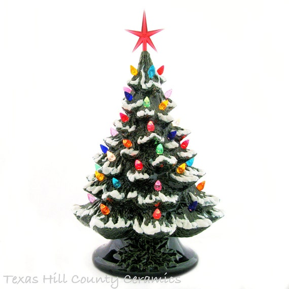 Ceramic Christmas Tree with Snow Tipped Branches 16 Inch Tall Tabletop Style Green Electric Base Color Lights with Star