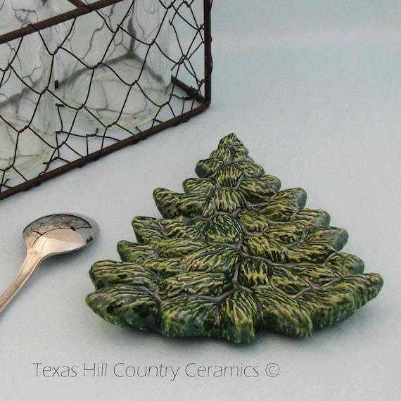 Pine Tree  Ceramic Tea Bag Holder Spoon Rest Christmas Mountain Wilderness Decor, Choose Green, White, Peppermint Colors, Green Snow Flurry