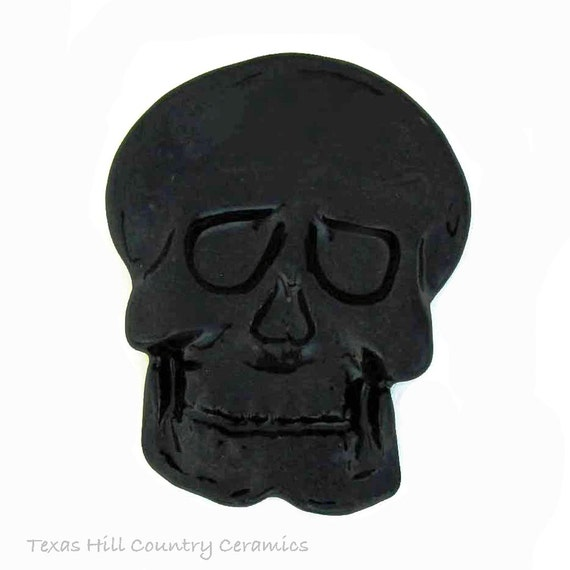 Black Ceramic Skull Tea Bag Holder, Small Kitchen Spoon Rest, Ring Tray on Bath Vanity, Halloween Horror Friday the 13th Decor, Desk Accent