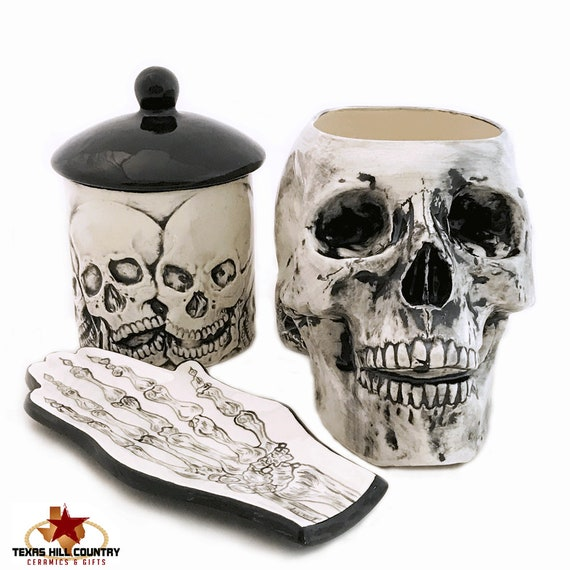 Ceramic Skull Set 3 Piece, Black Large Skull Kitchen Holder, Skull Design Sugar Bowl or Container with Lid, Skeleton Hand Design Spoon Rest