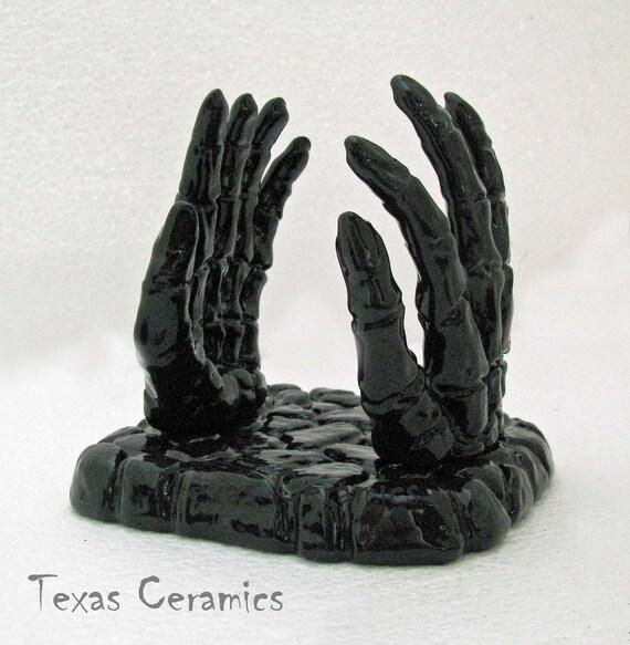 Ceramic Skeleton Hands Napkin Holder for Table or Counter, Mail and Letter Holder Desk Organizer Haunted Halloween Decor in Black or White