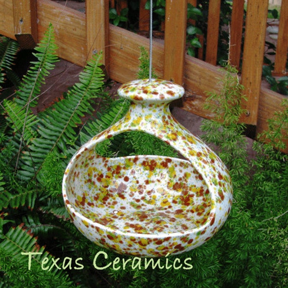 Hanging Ceramic Bird Feeder for Bird Seed or Hanging Planter in Vibrant Earthy Colors