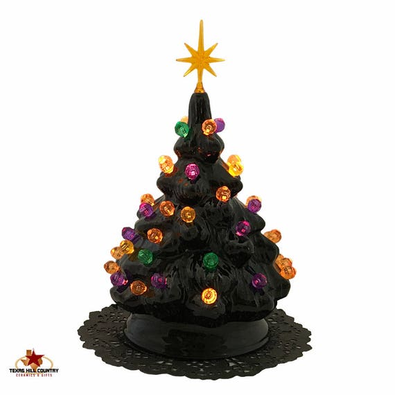 Black Ceramic Halloween Tree for Tabletop with Orange Gold Green Purple Round Globe Lights and Star Electric Light Fixture UL Approved