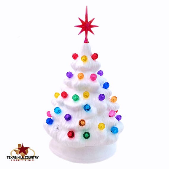 White Ceramic Christmas Tree.Miniature White Ceramic Christmas Tree With Color Globe Lights And Snowflake Style Star Little Tabletop Electric Tree 6 Inch Tall