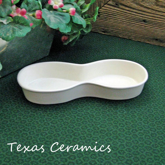 White Ceramic Personal Eyeglass Tray Classic Figure Eight Style for Office or Home Desk