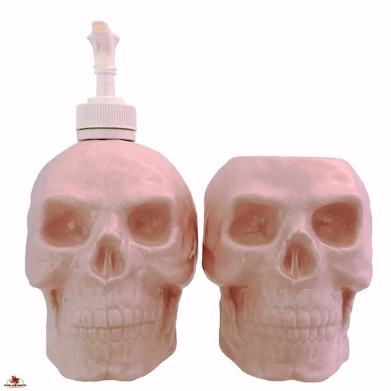 Ceramic Skull Soap Dispenser and Toothbrush Holder Set Light Pink for Bath Vanity or Kitchen Dish Soap Dispenser and Small Planter