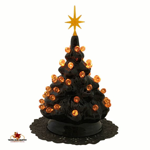 premium selection f4e98 fa939 Small Black Ceramic Halloween Nightmare Tree with Orange Round Globe Lights  and Star Electric Light Fixture UL Approved