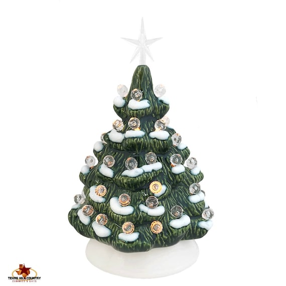 Celebrate Christmas Time Memories 6 Inch Mini Ceramic Christmas Tree With Snow Clear Lights and Small Modern Star - Made to Order