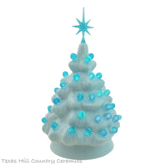 Small Light Blue Ceramic Christmas Tree with Aqua Color Lights and Star 6 Inch Miniature Tabletop Tree Boys Room