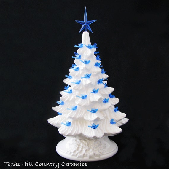 Winter White Ceramic Christmas Tree 11 1/2 Inch Tall Blue Dove Bird Lights and Blue Star - Made to Order