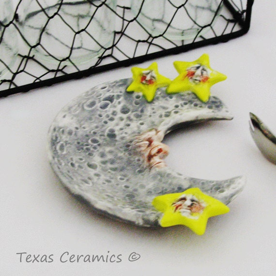 Celestial Moon with Yellow Stars Ceramic Tea Bag Holder or Small Spoon Rest Desk Catch All