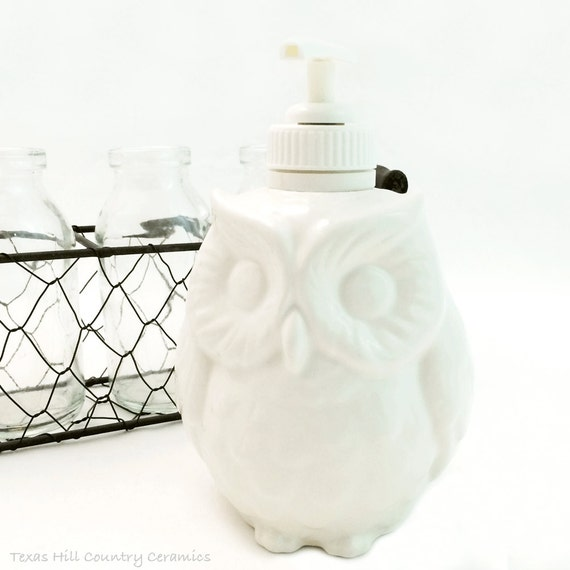 Small White Ceramic Owl Pump Dispenser For Soap or Lotions Use on Bath Vanity or Kitchen Counters