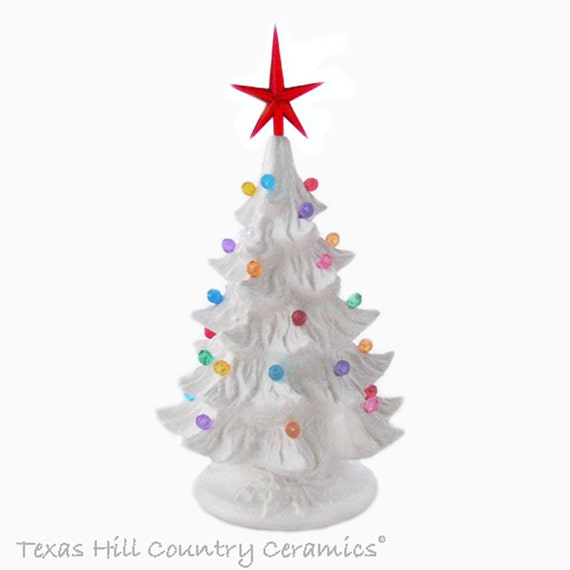 Small Winter White Ceramic Christmas Tree 8 1/2 Inch Tall Colorful Round Lights Modern Star Electric Lighted Base with Embossed Holly Design
