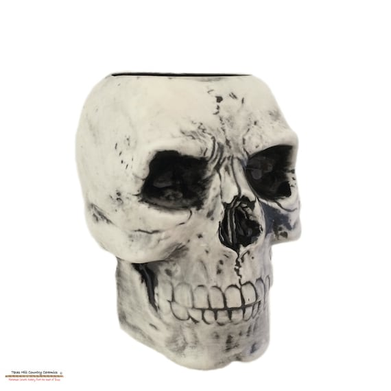 Antiqued Black Ceramic Skull Toothbrush Holder Flower Planter Pencil or Tool Caddy Bath Vanity or Kitchen Decor