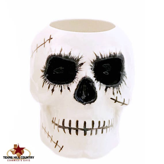 Ceramic Zombie Skull Toothbrush or Makeup Brush Holder for Bath Vanity or Pencil or Tool Caddy for Desk or Work Bench, Flower Pot for Window