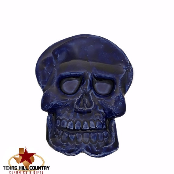 Ceramic Skull Tea Bag Holder or Small Spoon Rest in Dark Blue, Halloween Decor, Ring Dish or Trinket Tray for Bath Vanity, Desk Accessory