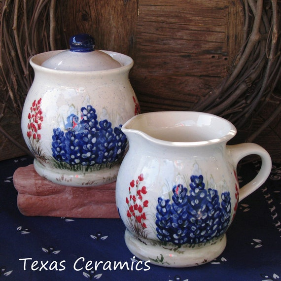 Ceramic Sugar Bowl with Lid and Cream Pitcher With Texas Bluebonnets Indian Paintbrush Wildflowers - Made to Order