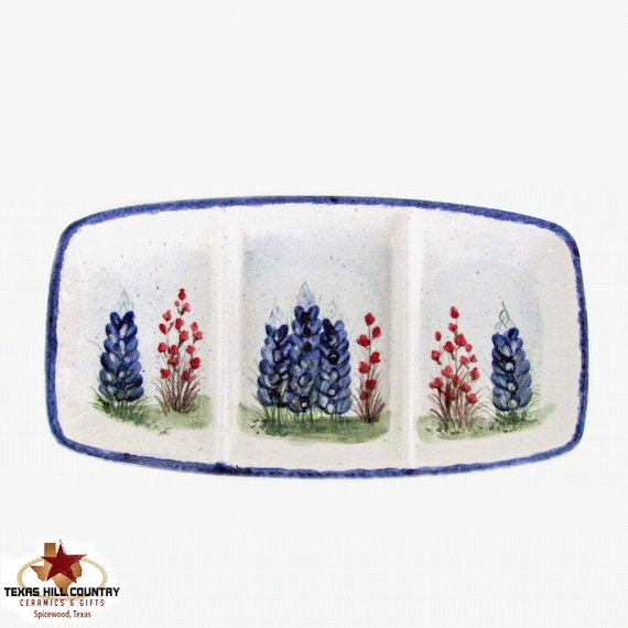Rectangle Divided Serving Dish or Snack Tray, Ceramic Vanity Organizer, Original Hand Painted Texas Bluebonnet Wildflowers - Made to Order