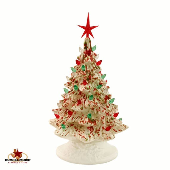 Ceramic Christmas Tree 16 Inches Tall in Noel Crystal Glaze, Red Green and Clear Lights, Modern Red Star - Made to Order