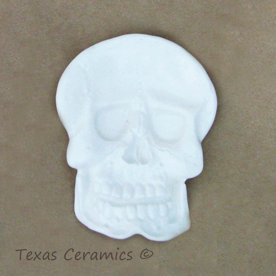 White Ceramic Skeleton Skull Tea Bag Holder Small Tea Spoon Rest Desk Accessory Haunted Halloween or Pirate Theme Decor Kitchen Accent