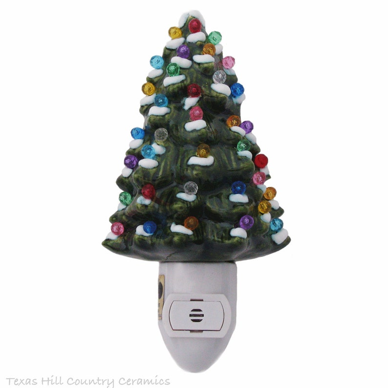 Ceramic Christmas Tree With Snow Night Light Automatic On And Off Switch Color Lights Ready To Use