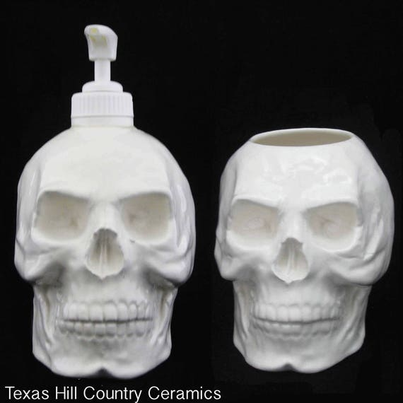 White Ceramic Skull Soap Dispenser and Toothbrush Holder Set for Bath Vanity or Kitchen Decor Creepy Halloween Decor