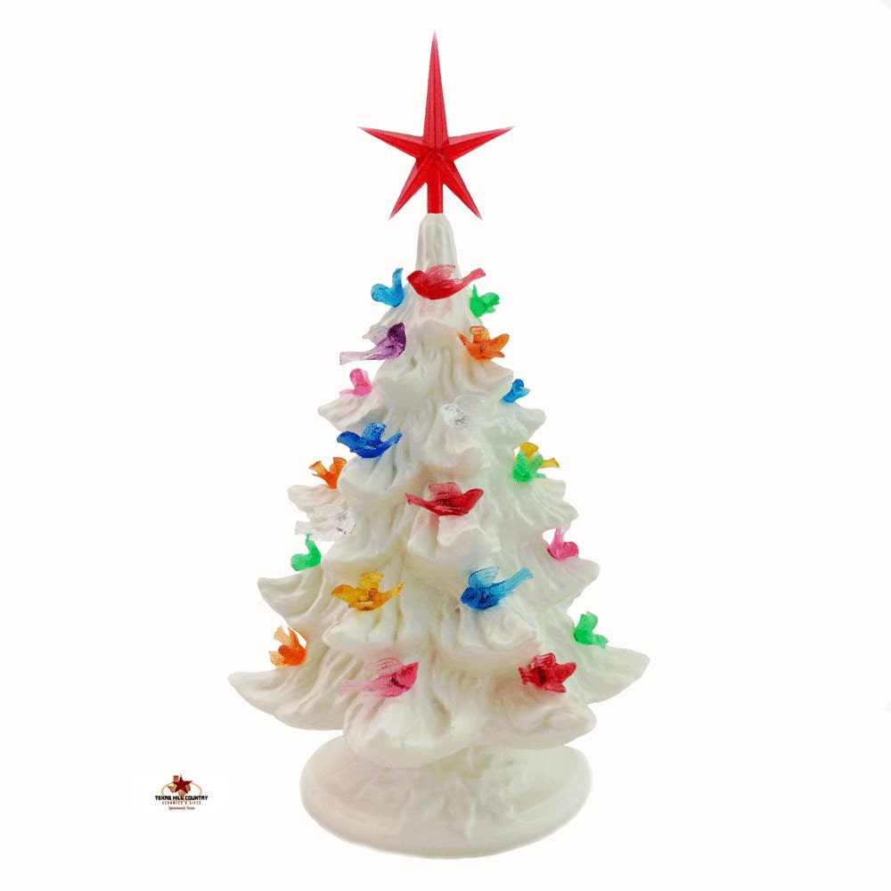 small tabletop ceramic christmas tree all white with colorful bird lights and star 8 12 inches tall electric light base switch on cord