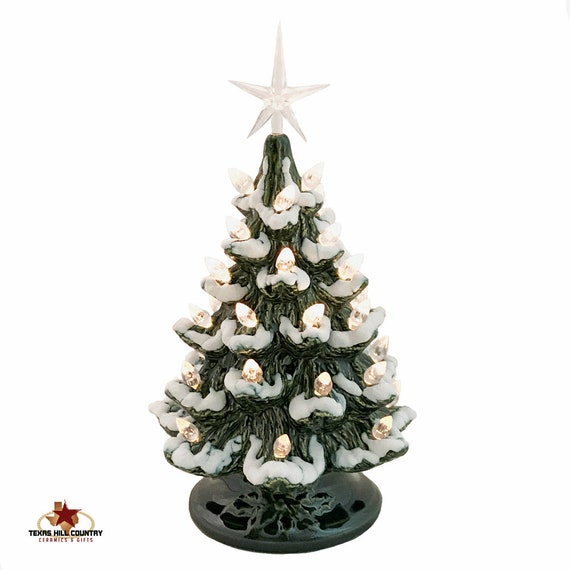 Small Ceramic Christmas Tree with Snow Clear Lights and Star 8 1/2 Inches Tall Green Tabletop Electric Light Base Switch on Cord - MTO