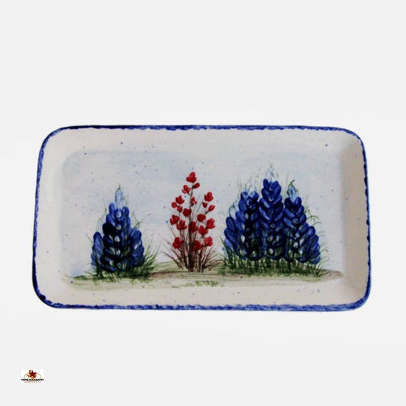 Personal Eyeglass Holder Ceramic Tray For Desk Top Night Stand or Bath Vanity with Hand Painted Texas Bluebonnet Wildflowers Made to Order