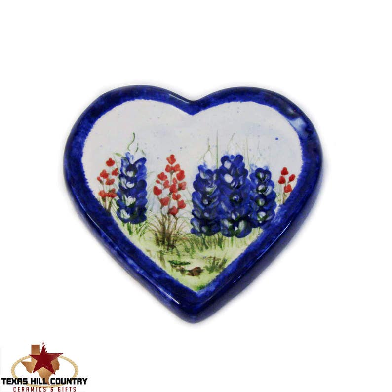 Ceramic Heart Shape Spoon Rest Made to Order Hand Painted Texas Bluebonnet Wildflowers Spring Flower Kitchen Decor,Hill Country Gift