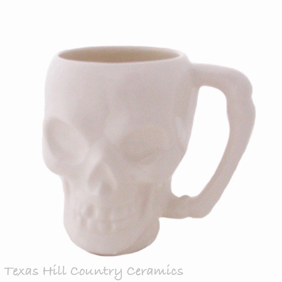 Ceramic Mug, White Skull, Coffee or Tea Mug, Bone Style Handle, Hot or Cold Drinks Beverages, 8 Ounces Size