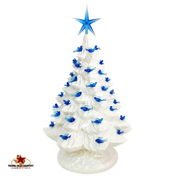 White Ceramic Christmas Tree with Blue Dove Bird Lights Modern Style Star 16 Inch Tall Tabletop Style Electric Lighted Base - Made to Order