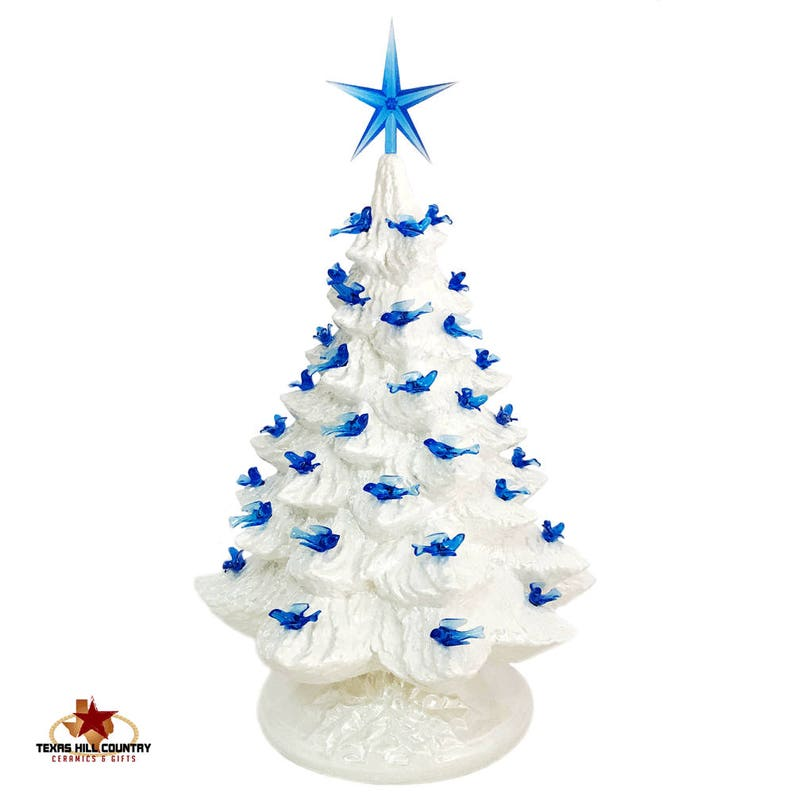 White Ceramic Christmas Tree With Blue Dove Bird Lights Modern Style Star 16 Inch Tall Tabletop Style Electric Lighted Base Made To Order