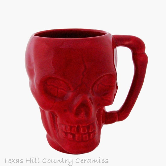Red Skull Coffee Mug with Solid Bone Style Handle 8 Ounce Coffee or Tea Cup Halloween Horror Decor Made in the USA