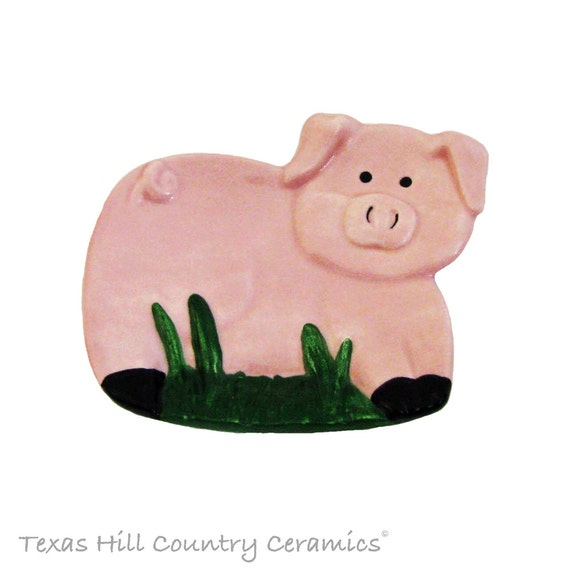 Small Pink Pig Ceramic Spoon Rest or Tea Bag Holder Tea Accessory Country Farm Kitchen Decor Dishwasher Safe and Food Safe