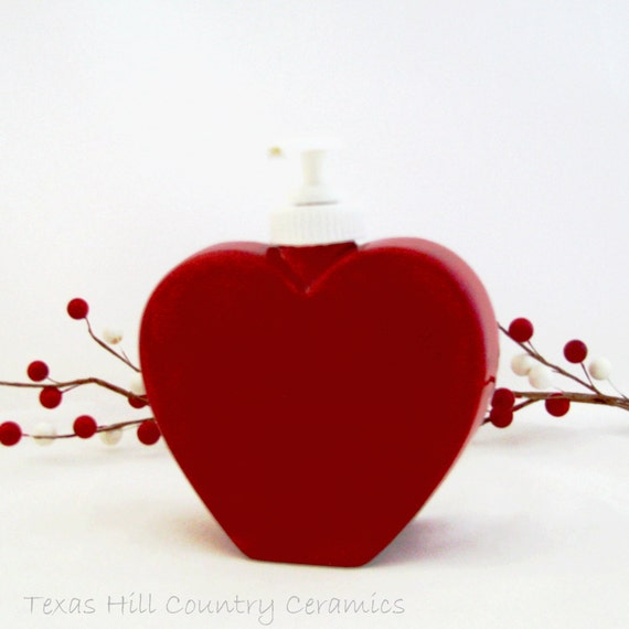 Red Valentine Heart Shaped Soap Dispenser for Bath Vanity or Kitchen Counter, Sweetheart Gift Giving Ceramic Pottery Made in the USA