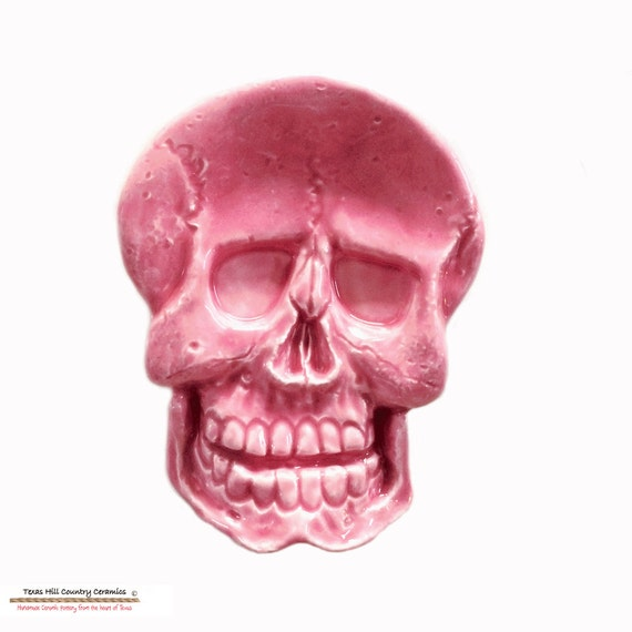 Bright Pink Ceramic Skeleton Skull Tea Bag Holder Small Tea Spoon Rest Desk Accessory Haunted Horror Halloween Decor Kitchen Accent