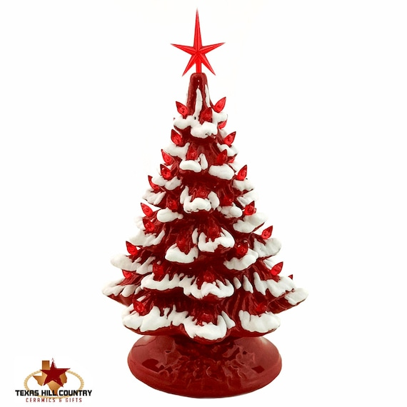 Red Ceramic Christmas Tree with Snow Tips Decorated with Red Lights and a Modern Red Star 11 1/2 Inch Tall Electric Base - Made to Order