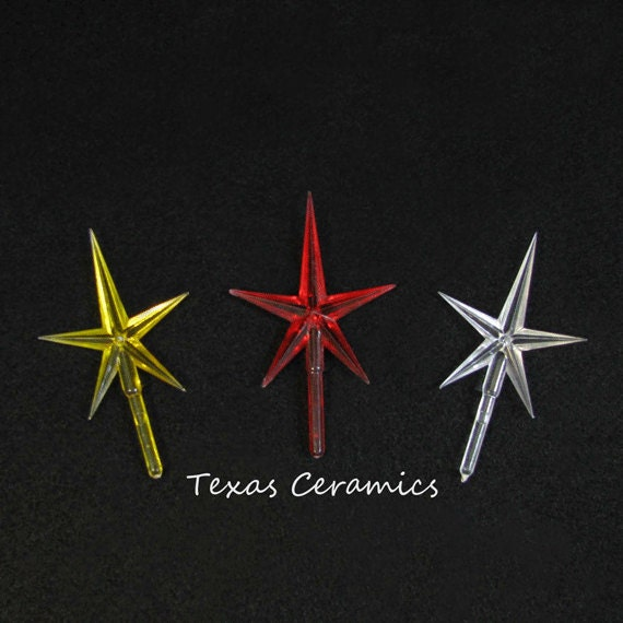 Medium Size Plastic Modern Style 5 Point Star for New and Vintage Ceramic Christmas trees and other Arts and Crafts Projects