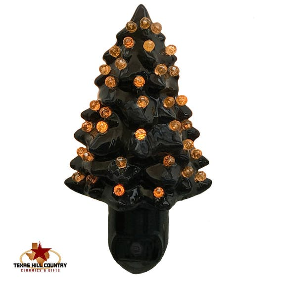 Black Ceramic Tree Night Light with Color Globes on Light Sensitive Automatic Switch Halloween Decorating Your Choice of Color Lights