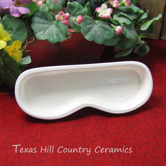 Personal Eyeglass Tray Contemporary Styling for Home or Office Sleek Ceramic Design Solid White Lead Free Glaze