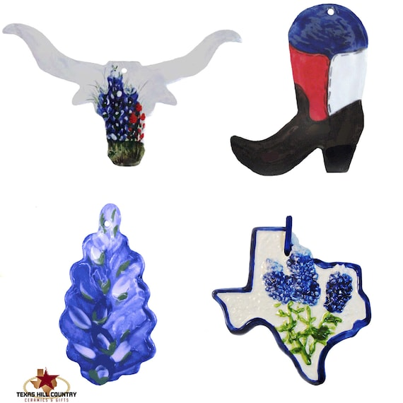 Christmas Tree Ornament Set of 4 Texas Style, Texas Longhorn, Texas Bluebonnet Wildflower, Boot with Texas Flag, Texas State with Bluebonnet
