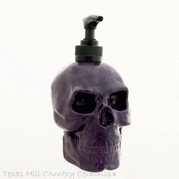 Ceramic Skull Dispenser in Dark Purple For Soap or Lotion Creepy Skull Ware for Bath Vanity or Kitchen Counters Halloween Decorating