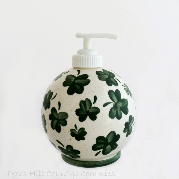 Ceramic Soap Dispenser Round Sphere with Shamrocks in Kelly Green Hand Painted Design for St. Patrick's Day Decorating