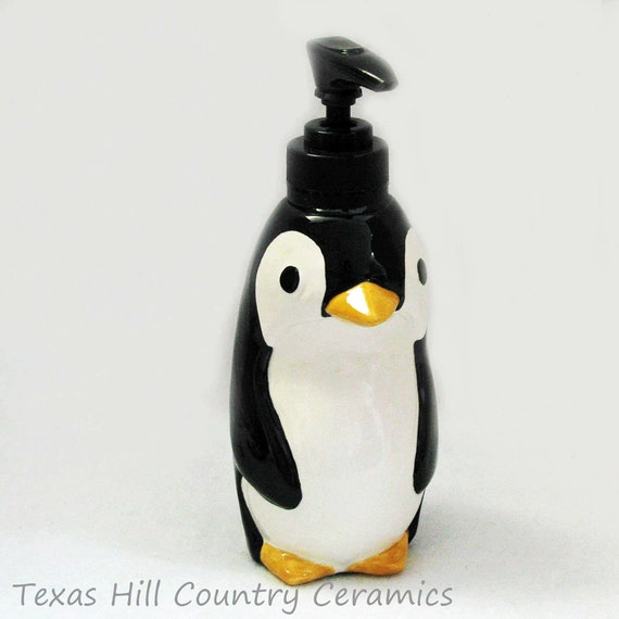 Ceramic Penguin Soap Dispenser in Black and White Tux Penguin Dispenser for Soap or Lotion Kitchen Counter or Bath Vanity Made in the USA