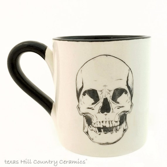 Skull Mug for Hot And Cold Beverages in Black and White, Haunted Halloween Kitchen Decor for Your Dark Side