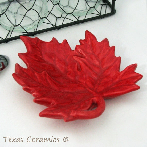 Autumn Red Maple Leaf Ceramic Tea Bag Holder or Small Spoon Rest, Dining Table Accent, Desk Accessory, Soap Dish or Jewelry or Ring Holder
