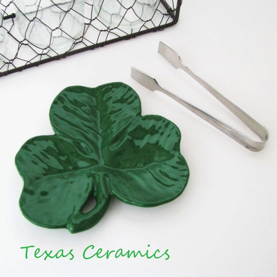 Green Shamrock Clover Ceramic Tea Bag Holder Small Spoon Rest or Desk Catch All Lucky Irish Decor